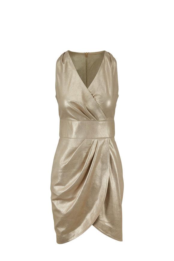 Jitrois Robe Champagne Metallic Leather Dress