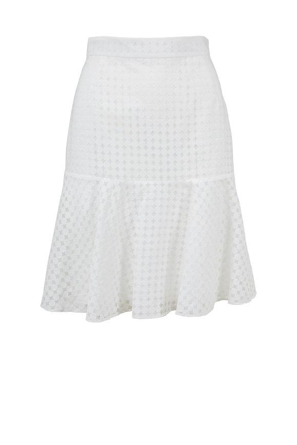 Akris Punto Cream Dot Flounce Hem Skirt