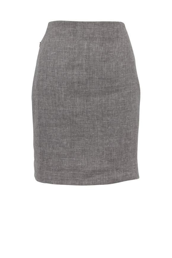 Akris Titan Linen & Wool Pencil Skirt