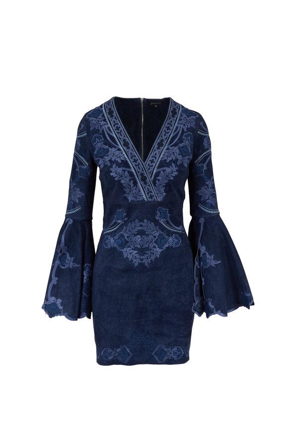 Jitrois Margarita Blue Stretch Suede Flared Sleeve Dress
