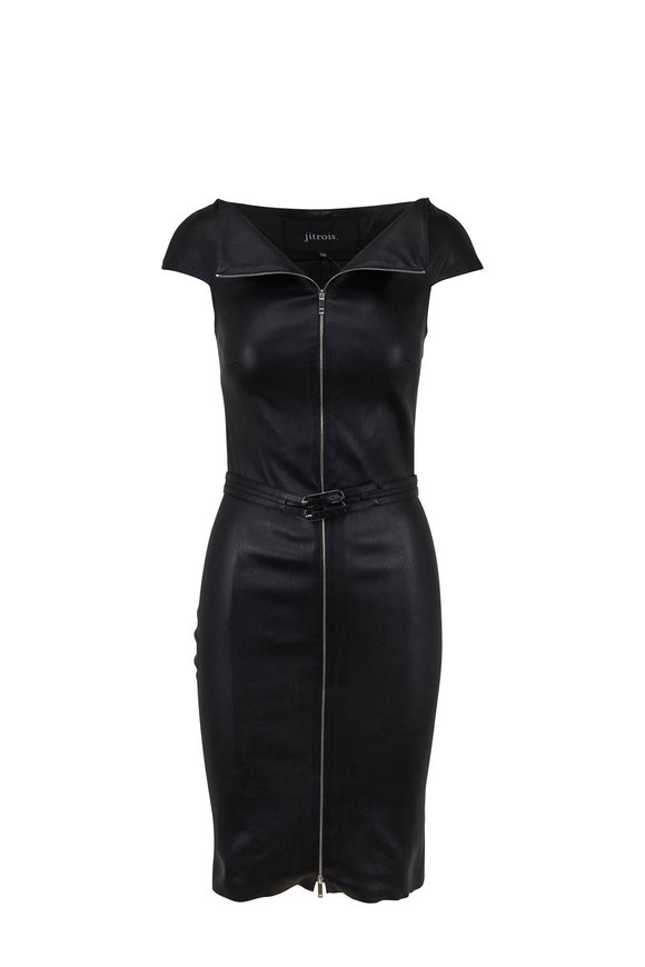 Jitrois Eve Black Stretch Leather Full Zip Front Dress