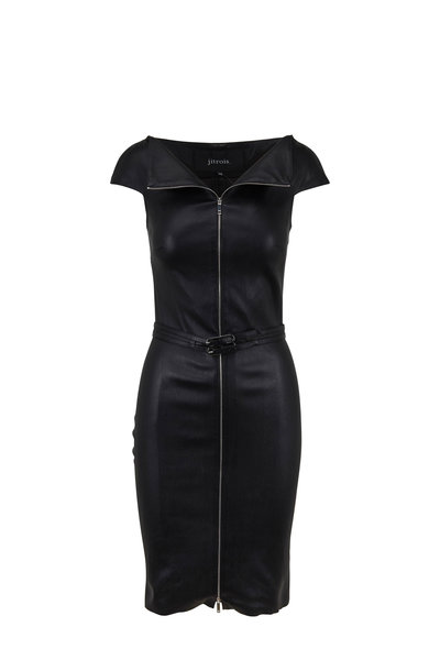 Jitrois - Eve Black Stretch Leather Full Zip Front Dress