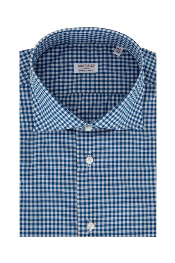 Borriello Royal Blue Gingham Dress Shirt