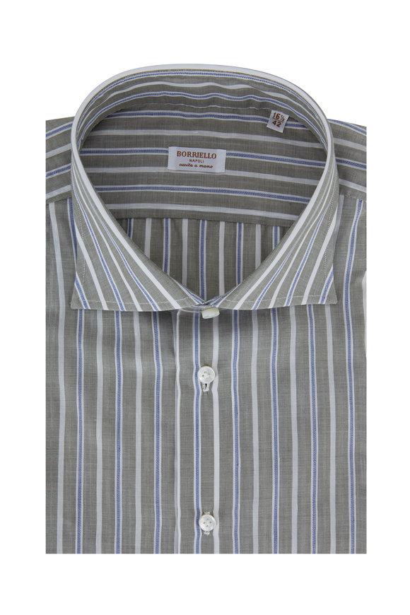 Borriello Light Green & Blue Striped Linen Blend Dress Shirt