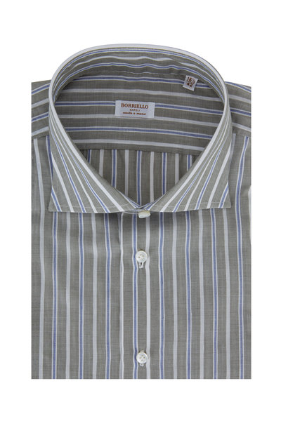 Borriello - Light Green & Blue Striped Linen Blend Dress Shirt
