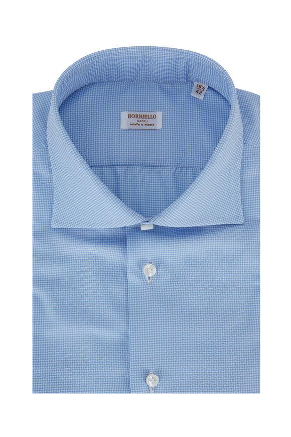 Borriello Light Blue Houndstooth Dress Shirt