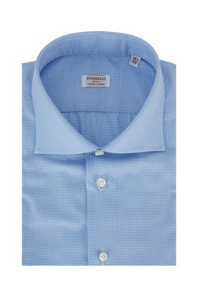 Borriello - Light Blue Houndstooth Dress Shirt