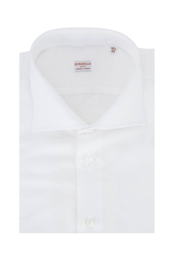 Borriello Solid White Linen Blend Dress Shirt