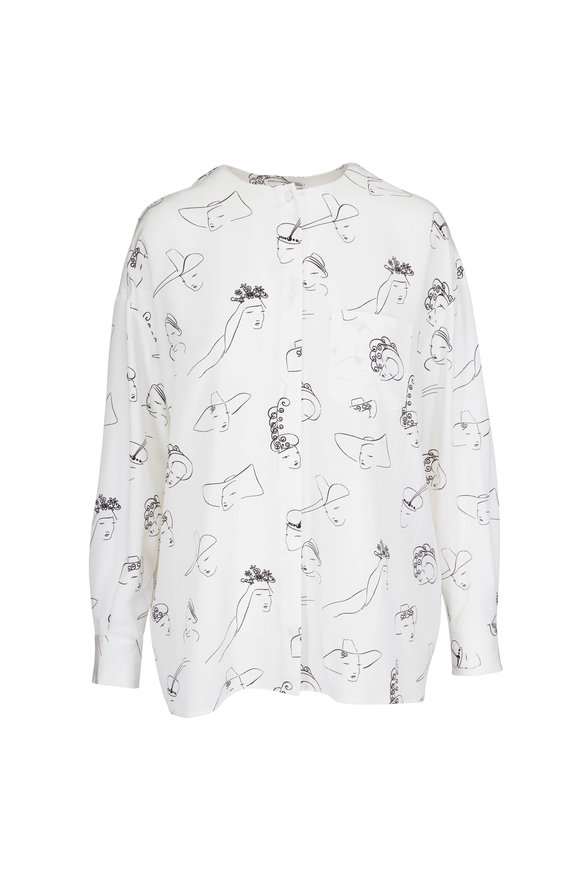 CO Collection White & Black Silk Patterned Blouse