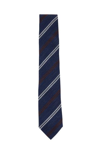 Brunello Cucinelli - Navy Blue & Silver Striped Necktie