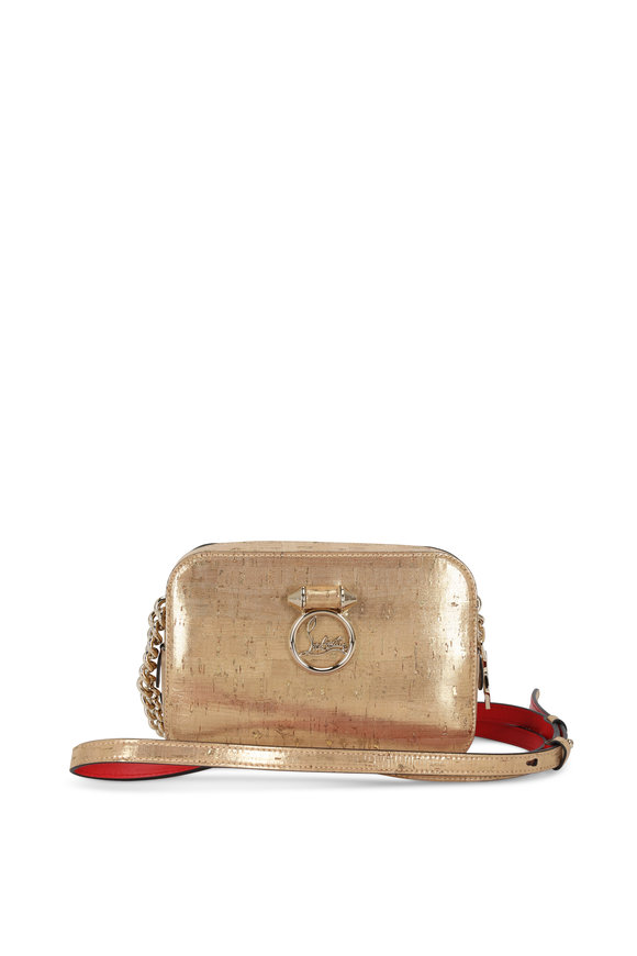 Christian Louboutin Gold Metallic Cork & Leather Small Camera Bag