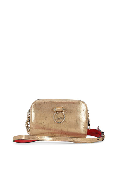 Christian Louboutin - Gold Metallic Cork & Leather Small Camera Bag
