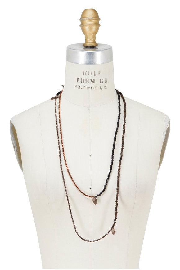 Brunello Cucinelli Brown Wood & Hematite Diamante Dangle Necklace