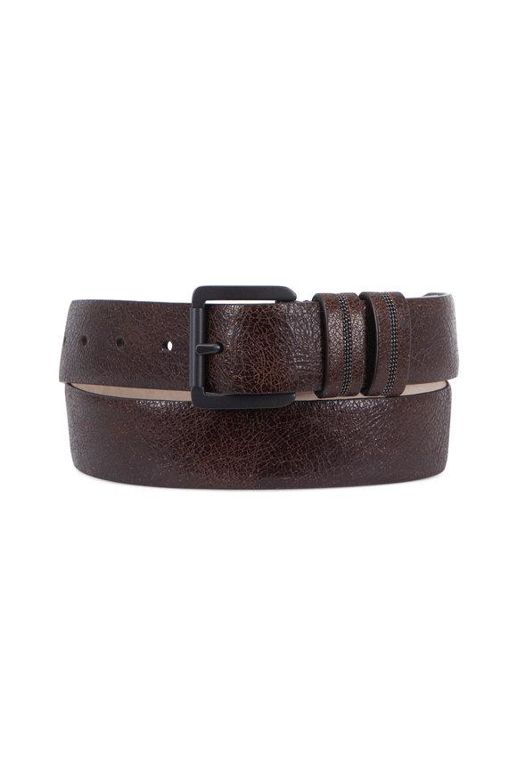 Brunello Cucinelli Espresso Crackled Leather Monili Keeper Belt