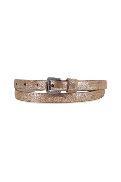 Brunello Cucinelli - Platino Metallic Grained Leather Belt