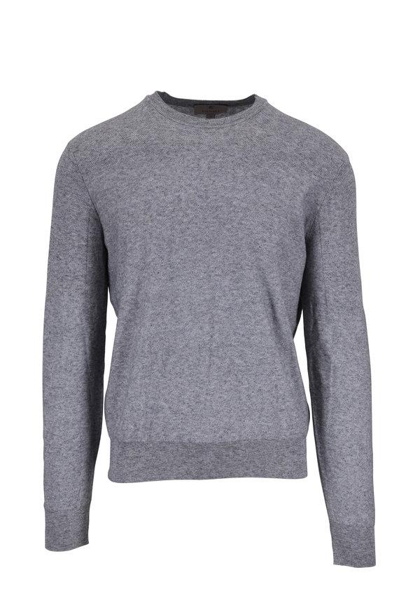 Canali Gray Cotton Crewneck Pullover