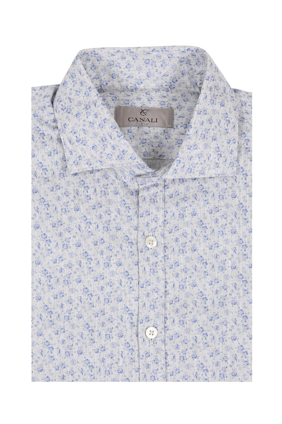 Canali Gray Floral Cotton Blend Sport Shirt