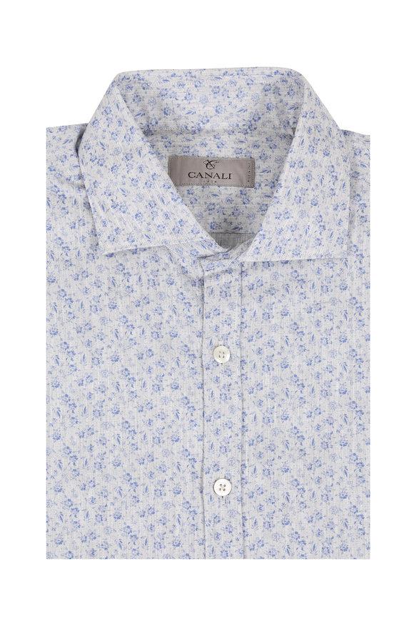 Canali Gray Floral Cotton Blend Sport Shirt