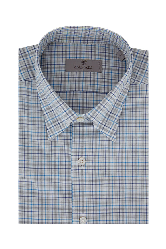Canali Gray & Teal Plaid Modern Fit Sport Shirt
