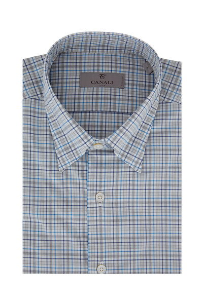 Canali - Gray & Teal Plaid Modern Fit Sport Shirt