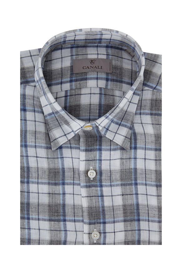 Canali Gray Plaid Linen Modern Fit Sport Shirt