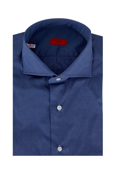 Isaia - Solid Dark Blue Poplin Dress Shirt