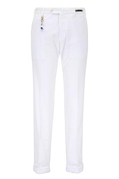 PT Torino - White Corduroy Tailored Fit Pant