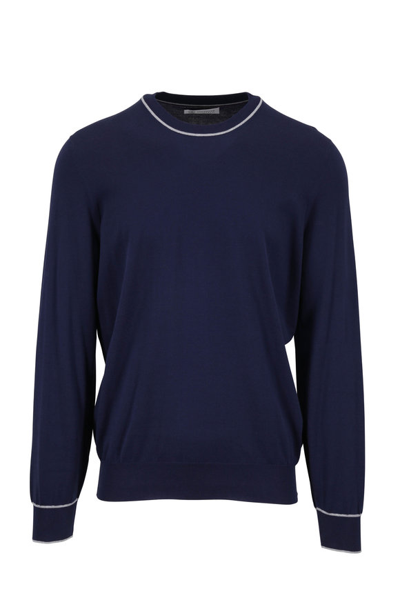 Brunello Cucinelli Navy Cotton Crewneck Pullover