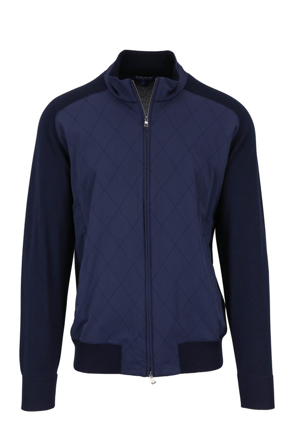 Peter Millar Crown Crafted Navy Quilted Wool & Nylon Jacket