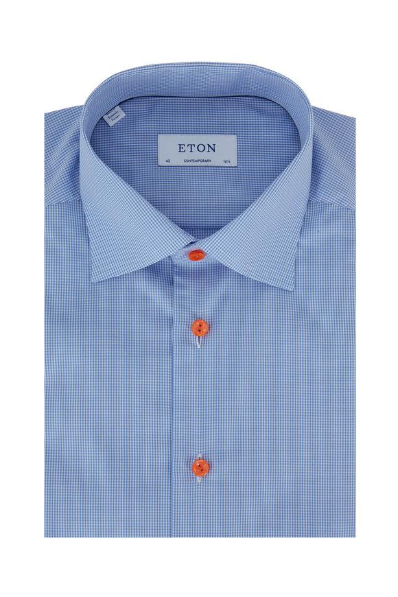 Eton Light Blue Gingham Contemporary Fit Dress Shirt