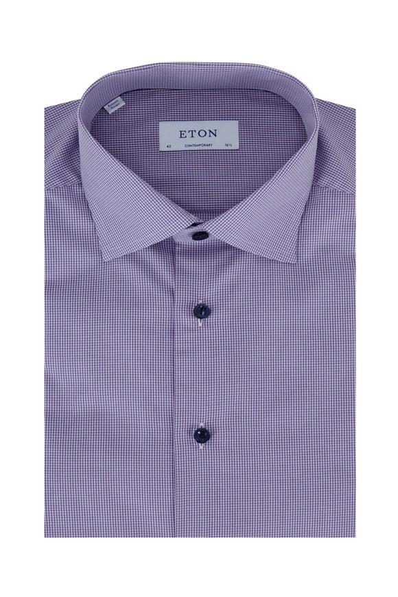 Eton Purple Gingham Contemporary Fit Dress Shirt
