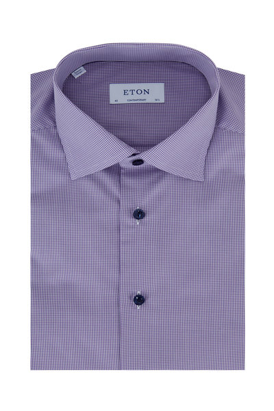 Eton - Purple Gingham Contemporary Fit Dress Shirt