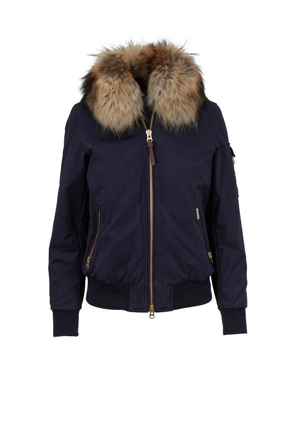 Woolrich Silverdale Navy Embroidered Fur Trim Bomber Jacket