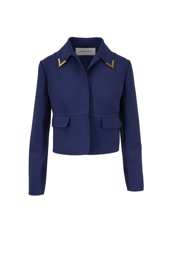 Valentino Blue Double-Faced Crêpe Wool Jacket