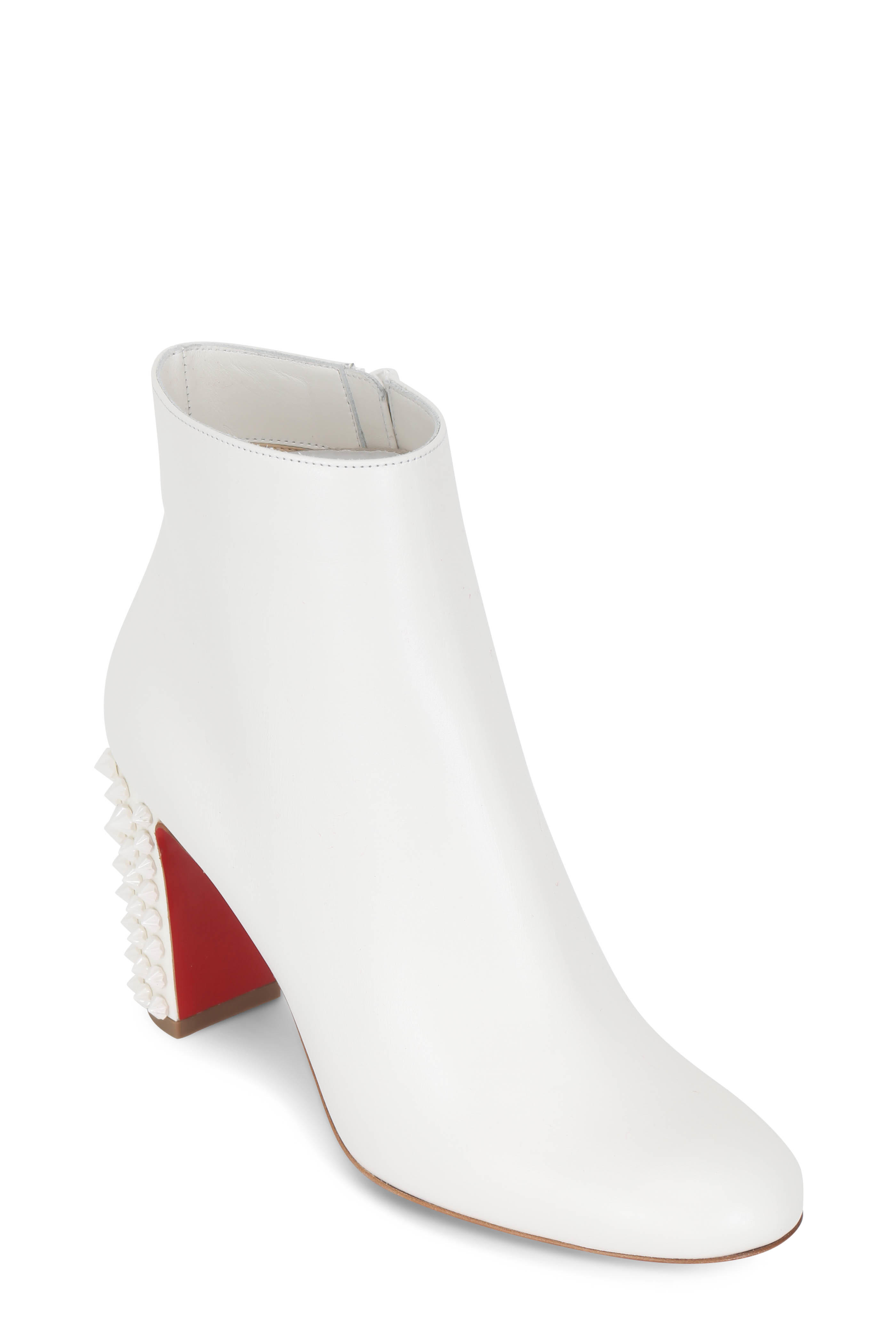 68b969a8ec8 Christian Louboutin - Suzi Folk White Leather Studded Heel Bootie ...