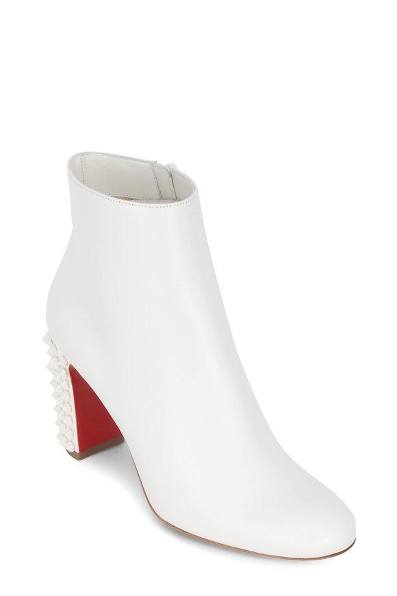 Christian Louboutin Suzi Folk White Leather Studded Heel Bootie, 85mm