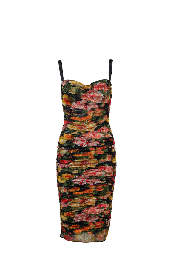 Dolce & Gabbana Black & Floral Ruched Tulle Dress