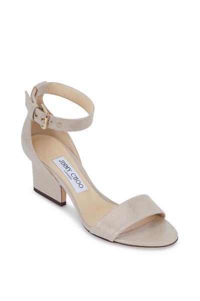 Jimmy Choo - Edina Natural Metallic Linen Sandal, 65mm