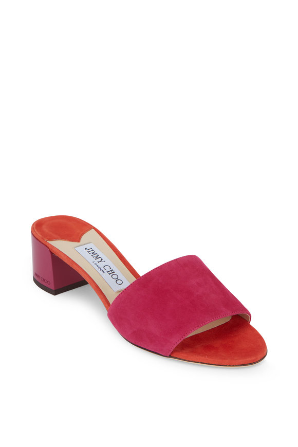 Jimmy Choo Joni Raspberry Suede Lacquer Heel Slide, 40mm