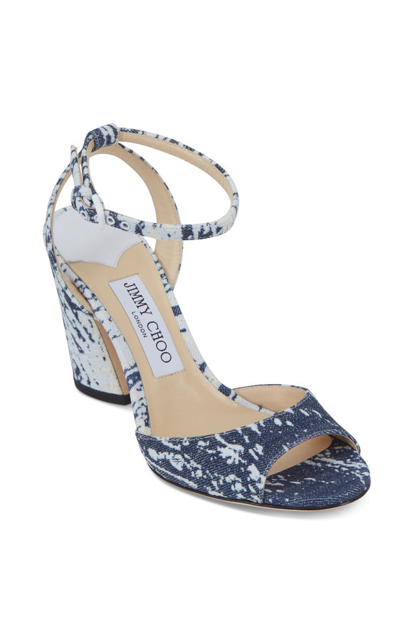Jimmy Choo Miranda Bleached Denim Sandal, 85mm