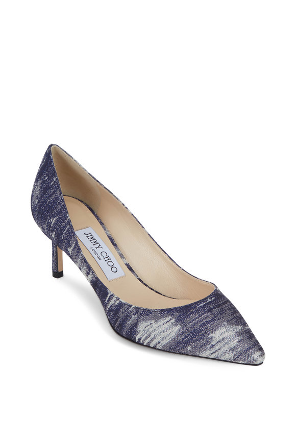 Jimmy Choo Romy Stone Blue Denim Jacquard Pump, 60mm