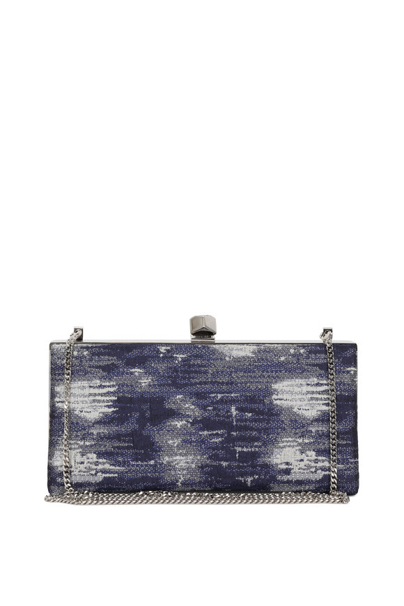 Jimmy Choo Celeste Blue Denim Jacquard Cube Clasp Clutch