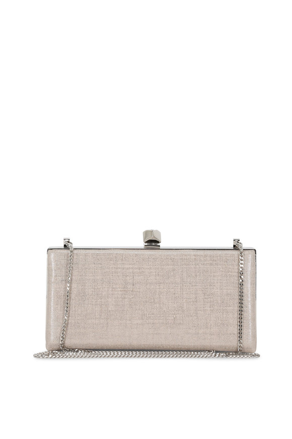 Jimmy Choo Celeste Metallic Natural Linen Cube Clasp Clutch