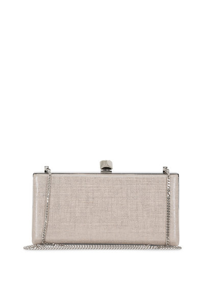 Jimmy Choo - Celeste Metallic Natural Linen Cube Clasp Clutch