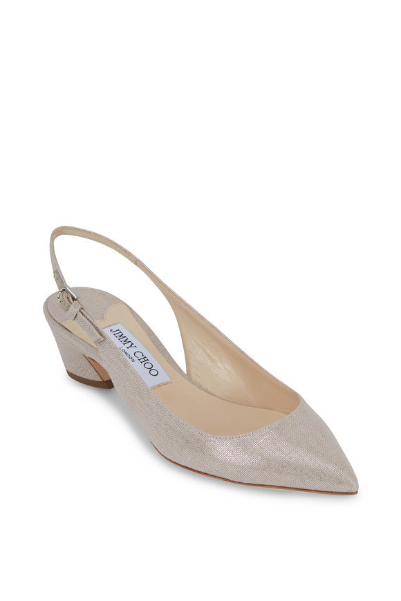 Jimmy Choo Gemma Natural Metallic Linen Slingback, 40mm