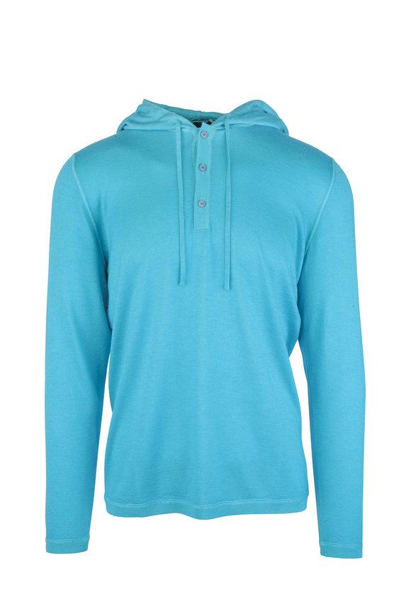 Kiton Aqua Cashmere Three-Button Placket Hooded Pullover