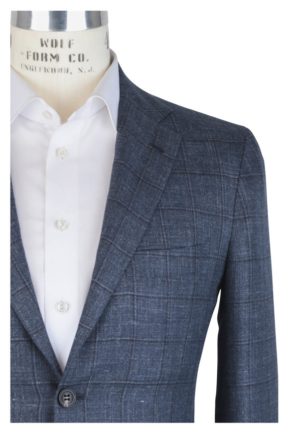 Kiton Blue Windowpane Cashmere, Linen & Silk Suit