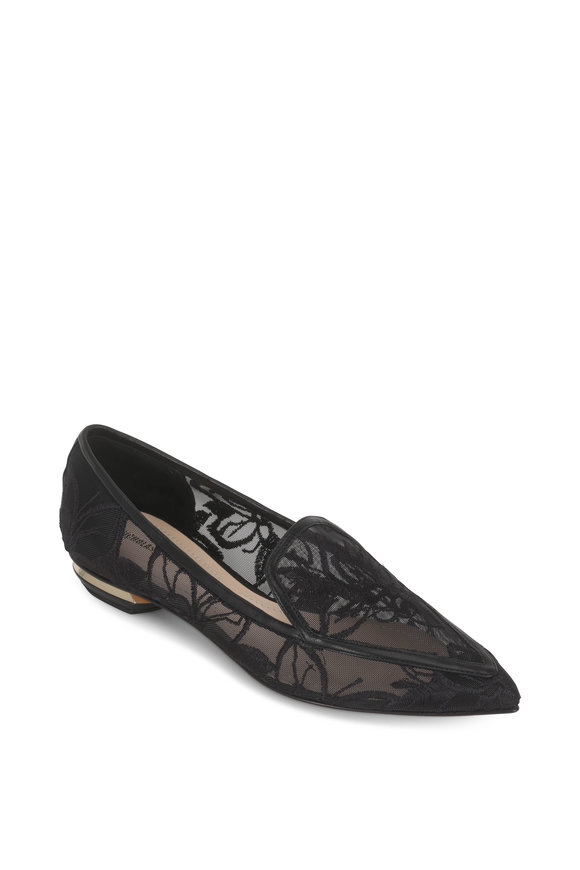 Nicholas Kirkwood Beya Black Orchid Embroidered Pointed Flat