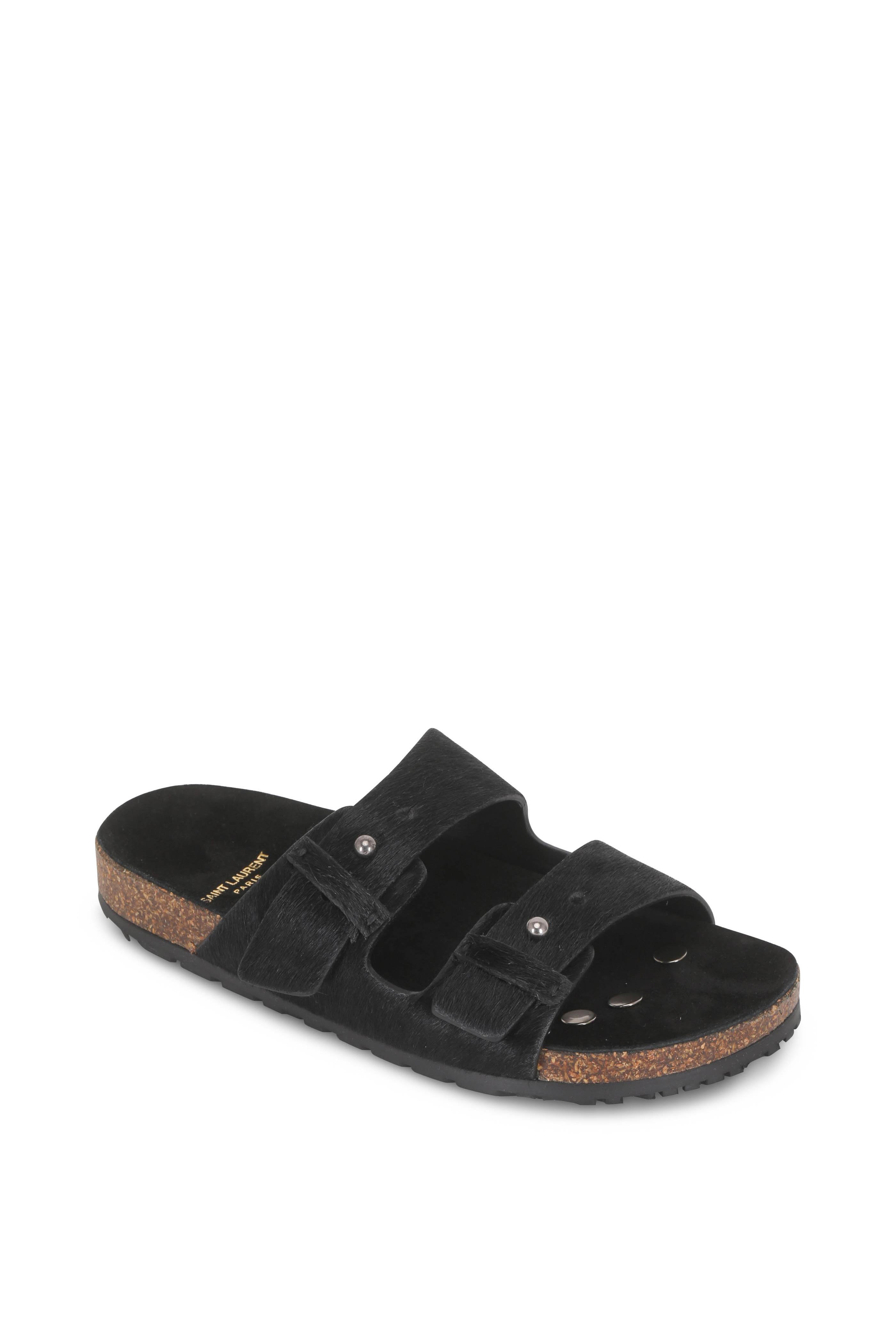 ece307387 Saint Laurent - Jimmy 2Bridle Black Calf-Hair Slide