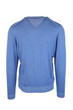 Kiton - Light Blue Cashmere & Silk V-Neck Sweater